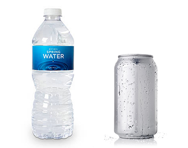 A plastic water bottle and aluminum soda can